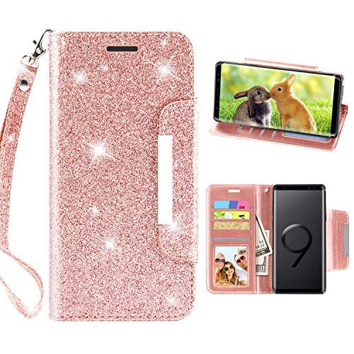 Samsung Galaxy Note 9 Case, TPU + Leather Flip Bling Glitter Wallet Case with Kickstand Credit Card Holder Slot Hand Wristlet Strap for Girls/Women, Rose Gold