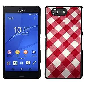EJOY---Cubierta de la caja de protección para la piel dura ** Sony Xperia Z3 Compact ** --Blanco modelo de la tela roja