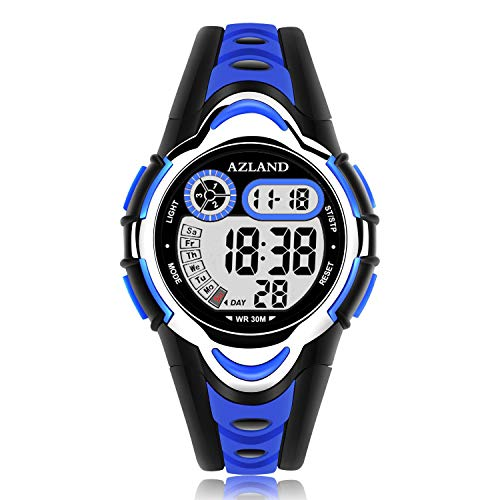 AZLAND Waterproof Swimming Led Digital Sports Watches for Children Kids Girls Boys,Rubber Strap,Blue (Birthday Wishes For My Niece And Nephew)