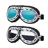 LJDJ Motorcycle Goggles - Set of 2 - Aviator Pilot Glasses Dirt Bike ATV Motocross Goggles Anti-UV Adjustable Riding Offroad Sports Goggles Scooter Harley Eyewear for Men Women Kids Youth Adult