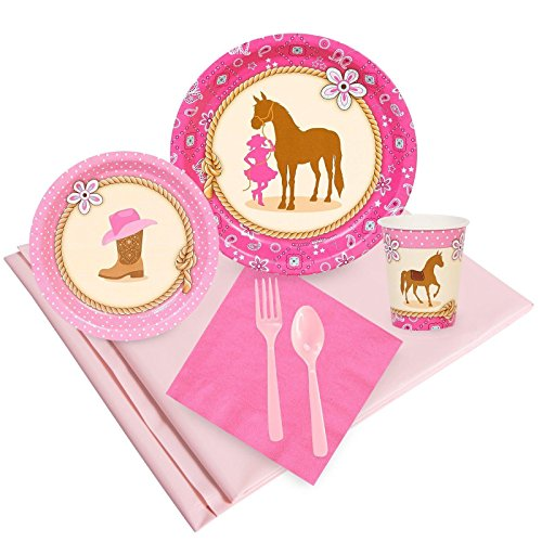 BirthdayExpress Western Cowgirl Pink Childrens Party Supplies Pack - 24 Guests -