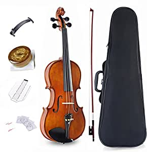 ADM Solidwood Full Size Violin Ebony Fitted Violin Kit with Upgrade Violin Case, Advanced Rosin, Shoulder Rest, Extra Strings and Fingerboard Sticker