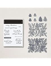 Christmas Leaves Trees Coordiate Greetings Christmas Words Stamps Sets for Card Making DIY Scrapbooking Embossing Stencil Die Cuts Punch Template Merry Christmas,Season's Greetings Alphabets Stamps