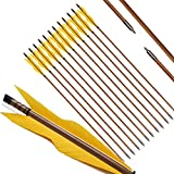 PG1ARCHERY Archery Bamboo Arrows, 32 inch Traditional Hunting Practice Target Arrow 5'' Turkey Feathers Fletching for Recurve Bow Longbow Yellow(Pack of 12)