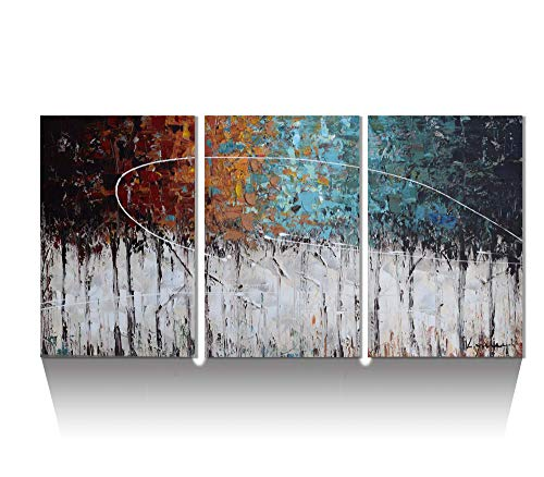 - ARTLAND Hand-Painted Color Forest 3-Piece Gallery-Wrapped Abstract Oil Painting On Canvas Wall Art Decor Home Decoration 24x48 inches