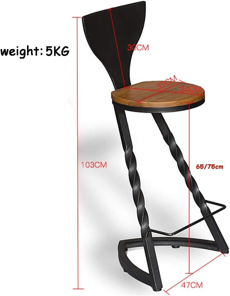 Repose-pieds de chaise de tabourets industriels avec le dossier Tabouret de bar caf/é Max Charge 150 kg jambes en m/étal noir taille : Seat height:65cm