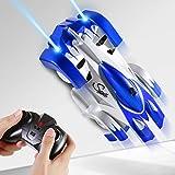 SGILE Remote Control Car Toy, Wall Climbing RC Car - Dual Mode 360° Rotating LED Head Stunt Car, Birthday Present Gift for Kids, Blue