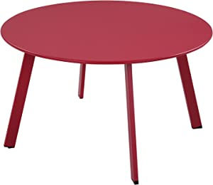 Grand patio Round Steel Patio Coffee Table, Weather Resistant Outdoor Large Side Table, Red