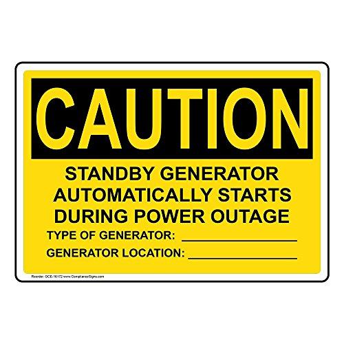 Caution Standby Generator Starts Automatically OSHA Label Decal, 5x3.5 inch 4-Pack Vinyl for Electrical by ComplianceSigns