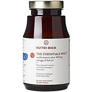 Nutri-Rich Essentials Multi | Complete Adult Multivitamin With Fish Oil, Without Iron, For Vitality & Energy (90 Softgels)