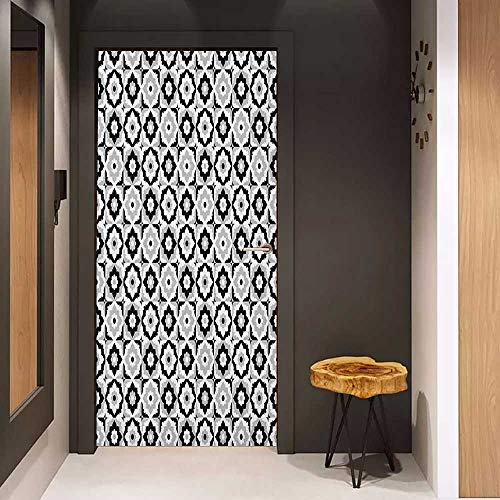 Onefzc Soliciting Sticker for Door Quatrefoil Black and White Ceramic Tile Design with Floral Ornaments Retro Daisies Mural Wallpaper W38.5 x H77 Black Grey White