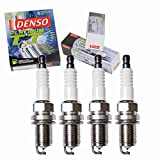 4 pc DENSO Platinum TT Spark Plugs compatible with Toyota Corolla 1.6L 1.8L L4 1993-2008 Ignition Wire Secondary