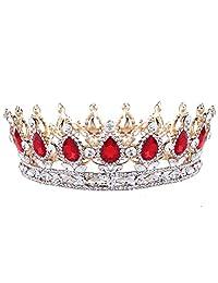 SODIAL Vintage Baroque Queen Bride Crown Rhinestone for Women Headdress Wedding Hair Jewelry Gold