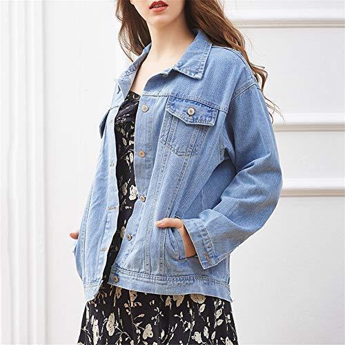 Di Giacca Fit Stile Boyfriend Azzurro Jeans Casual Cappotto Loose S6xPXqnw