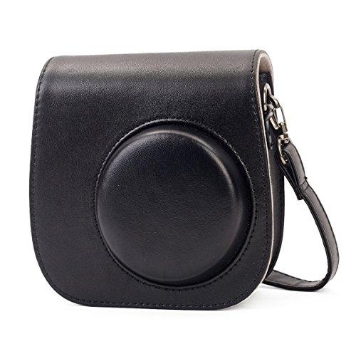 Phetium Protective Case for Fujifilm Instax Mini 9 Mini 8 Mini 8+, Soft PU Leather Bag with Pocket and Removable Shoulder Strap(Black)