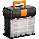 VonHaus Multi-purpose Small Parts, Crafts or Tool Organizer/Storage Box - 4 Removable Trays & Adjustable Dividers (10.9 x 10.1 x 6.9 inches - Black/Orange)