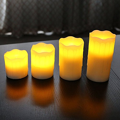 """Akari Set of 4 Real Wax Battery Operated Flameless LED Flickering Candles Pillar Candle with Remote 3"""" 4"""" 5"""" 6"""" inch Weddings Birthdays Gifts Mother's Day Holiday Christmas All Occasions (Warm White)"""