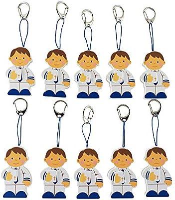 LA LLUNA ALWAYS CREATING Llavero recordatorio Niño Primera Comunión. Pack de 10 llaveros para Detalles de comunión niño: Amazon.es: Hogar