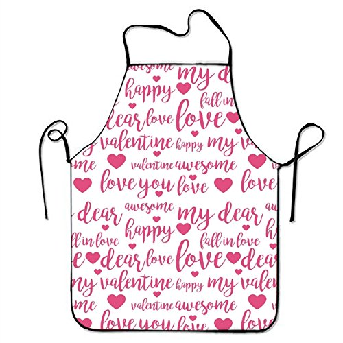 (Unisex Waterproof Aprons Happy My Valentine Kitchen Apron with Adjustable Strap for Cooking Gardening)