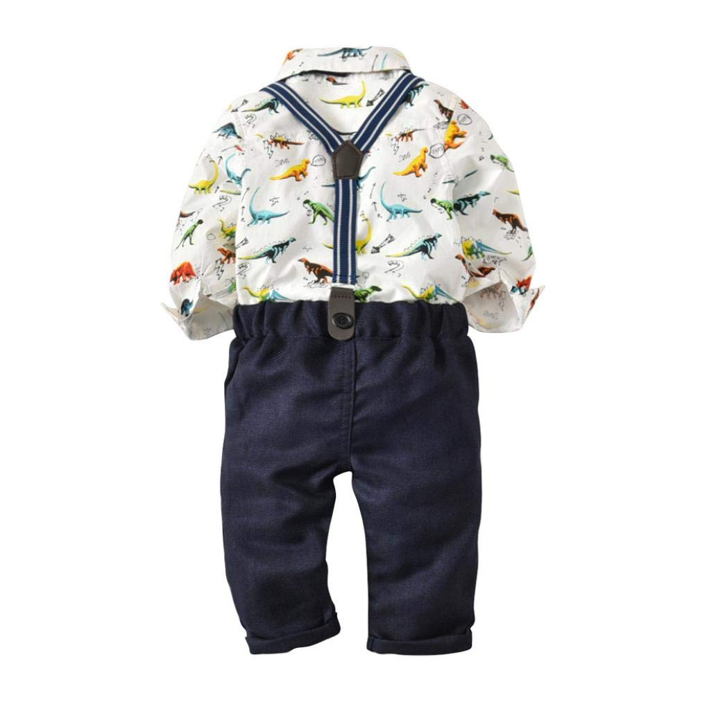Zerototens Kids Clothes Toddler Baby Boys Clothing Set Dinosaur Gentleman Bowtie Shirt Romper+Suspenders Pants Set Party Wedding Formal Clothes Casual Outfit Set 0 to 2 Years Old