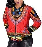 WSPLYSPJY Women's Africa Print Zipper up Dashiki Jackets Coats 5 4XL