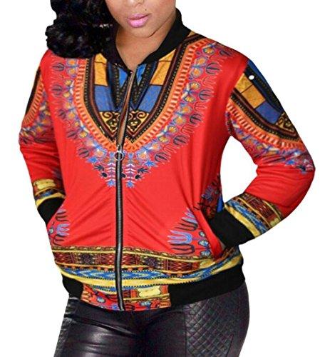 WSPLYSPJY Women's Africa Print Zipper up Dashiki Jackets Coats 5 4XL by WSPLYSPJY
