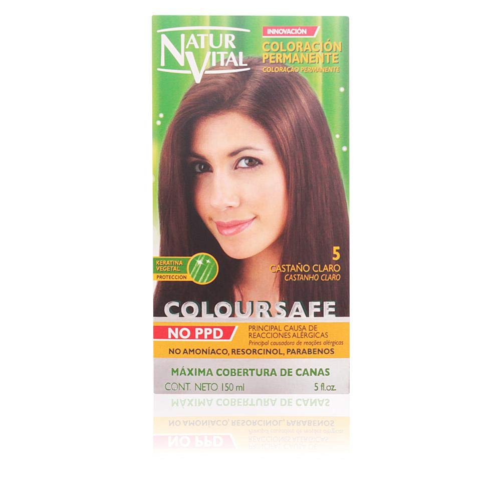 Permanent Hair Dye, Permanent Hair Color. Coloursafe, NO PPD, No Ammonia,Resorcinol or Parabens (~5 Light Chestnut)