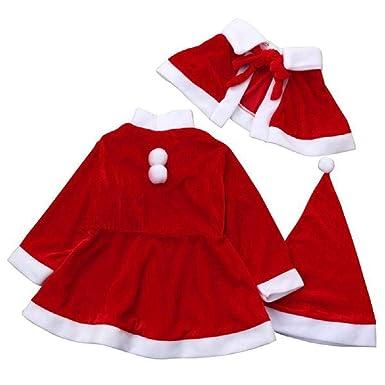 guobin Ropa Conjunto Bebé NiñA NiñO Invierno AlgodóN Rojo Vestidos De Fiesta para Disfraces MantóN Gorro Disfraz De Navidad para De Bowknot Bola De Nieve ...