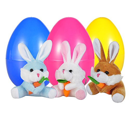 Easter Brown Bunny (WeYingLe Reusable Easter Eggs Filled with Rabbits, Easter Bunny Plush, Bunny Rabbit, 4'' big Bunny Rabbit, White, Blue, Brown 3 colors, 3 pack (3 colors))