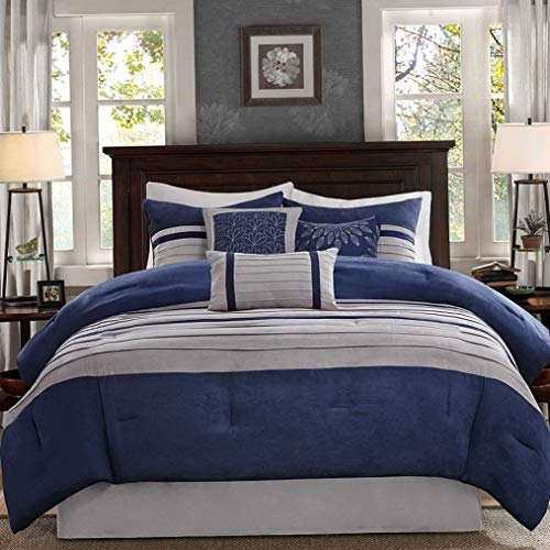 Hemau Premium New Soft - Palmer 7 Piece Comforter Set - Navy Blue and Gray - Queen - Pieced Microsuede - Includes 1 Comforter, 3 Decorative Pillows, 1 Bed Skirt, 2 Sha | Style 503193142