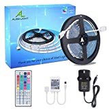 ALED LIGHT 5050 LED Strip Set 16.4 ft 5M 150 SMD RGB Non-Waterproof Colour Changing LED Rope Light with 2A Power Supply+IR Receiver 44 Key Remote Controller for Home and Outdoor Light Decoration