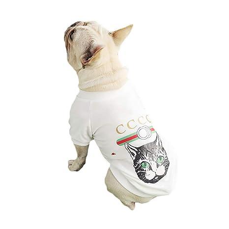 Scrox 1x Ropa para Mascotas Moda Gato Imprimiendo Bulldog francés Perros Ropa Cachorros Ocio Chaleco Camiseta