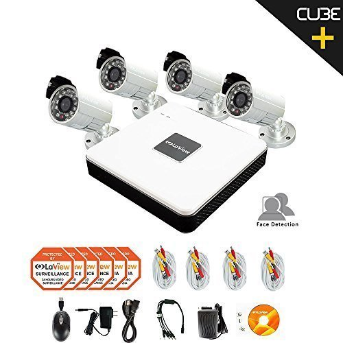 LaView 4 Camera Security System, 4 Channel Compact DVR w/1TB HDD and 4 Silver 700TVL Bullet Surveillance Camera Kit