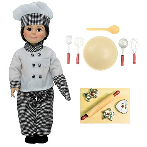 Doll Clothes Outfit and 11 Pc Kitchen Tool & Baking Set Accessories Fits 18 inch American Girl! Complete Clothing Set & Shoes, Bowl, 5 piece Utensil Set, 3 Cookie Cutters, Wooden Board & Rolling Pin