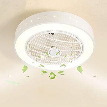 Ventilador Luz de techo redonda moderna LED Ventilador de techo regulable con iluminación y control remoto Lámpara de dormitorio adecuada sala de ...