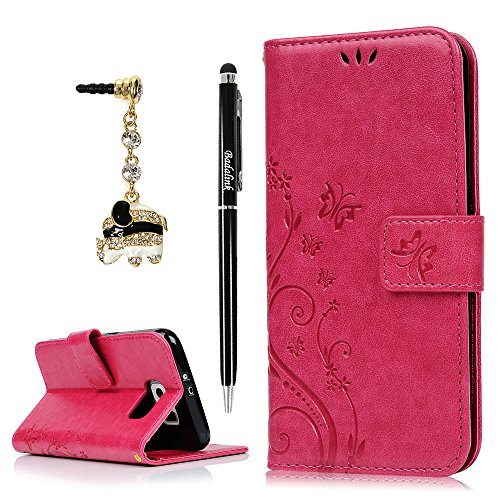 S6 Case,Samsung Galaxy S6 Case (Non-Edge) - BADALink Fashion Wallet Premium PU Leather with Embossed Flowers Butterfly Flip Cover with Hand Strap & 3D Cute Elephant Dust Plug & Stylus Pen - Hot Pink (Lucky Embossed Belt)