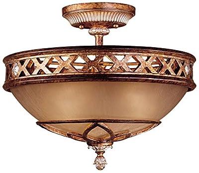 Minka Lavery 1757-206 Semi Flush Mount Ceiling Light , Aston Court Round Glass Lighting Fixture, 3 Light, 180 Watts, Bronze