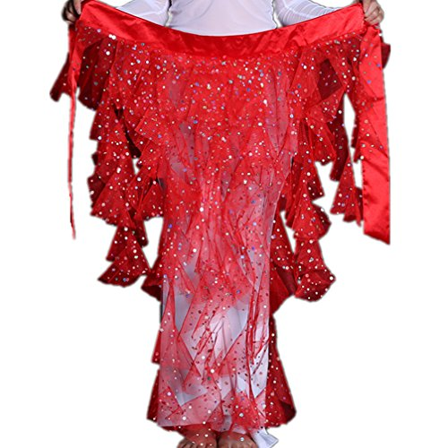 DEMON BABY 2019 Foxtails Gauze Sequin Belly Dance Hip Scarf Wrap Belt Pole Dancing Skirt Best Gift(Red) ()