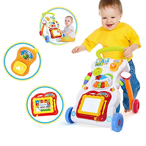 Baby Sit-to-Stand Learning Walker, First Steps Baby Activity Walker, Toddlers Musical Fun Table, Learning, Birthday Gift for Infants, Boys, Girls