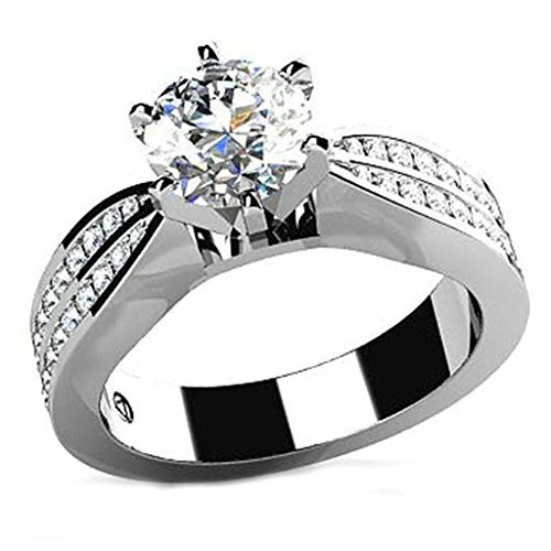Epinki Custom Ring-925 Sterling Silver Wedding Ring Bands For Women Cubic Zirconia Round US Size 10