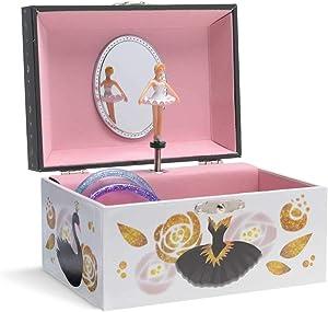 Jewelkeeper Musical Jewelry Box with Twirling Ballerina, Classic Design, Swan Lake Tune