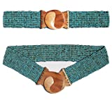 """Antique Turquoise Hand-made Elastic Stretchy Beaded Bali Belt with Wooden Hook Buckle – 2 1/4"""" Wide Belt"""