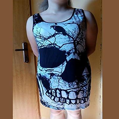 Vanvler Women's Sleeveless Skull Printed Summer Vintage Vest Dress Loose Casual Dress