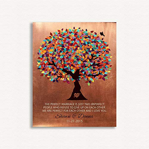 9.5 X 12 Metal Print Faux Copper 7th Wedding Anniversary Perfect For Each Other Personalized Gift For Husband Wife Couple Colorful Fruit Wedding Tree Birthday Thank You Custom Art Print
