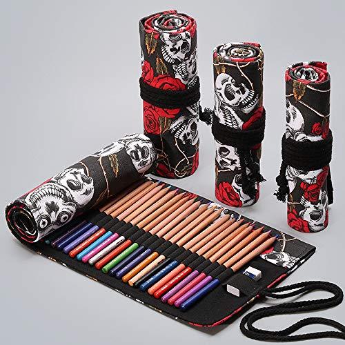 (Colored Pencil Roll up Case, Esdella 36 Slots Canvas Pencil Roll up Wrap Hold for Coloring Pencils, Portable Pencil Roll Pouch Roll up Holder (36-Slots, Rose&Skull) )