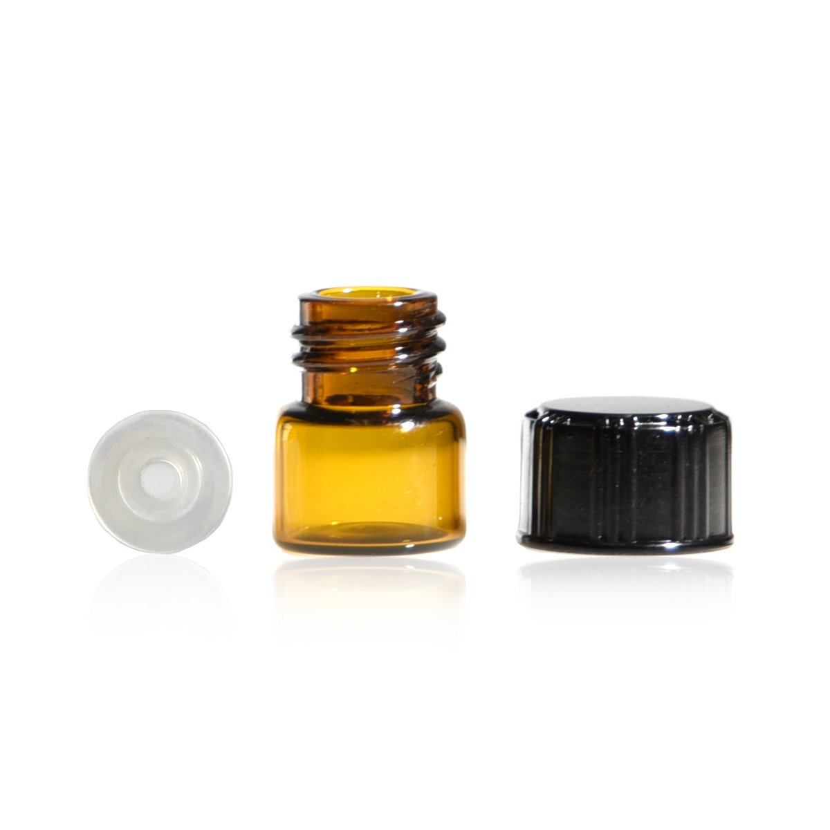 1/4 Dram Amber Glass Vial - Screw Cap w/Orifice Reducer - Pack of 144