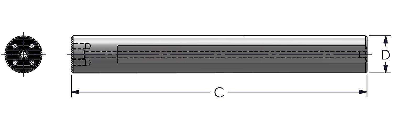 Ultra-Dex AS1750-16 Steel Modular Boring Bar SerratedCFT Style Connection 1.750 x 16 Coolant Thru 2.010 Minimum Bore