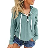 Women's Hooded Sweatshirts - ShenPr V-Neck Bandage Lace Up Hoodies Sweatshirts Long Sleeve Pullovers Tops
