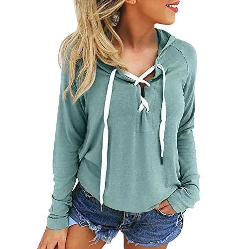 Mysky Women Sexy Criss Cross Hoodie Sweatshirt Ladies Casual Solid Lace Up Crop Top Coat Sports Pullover Tops for $<!--$5.16-->