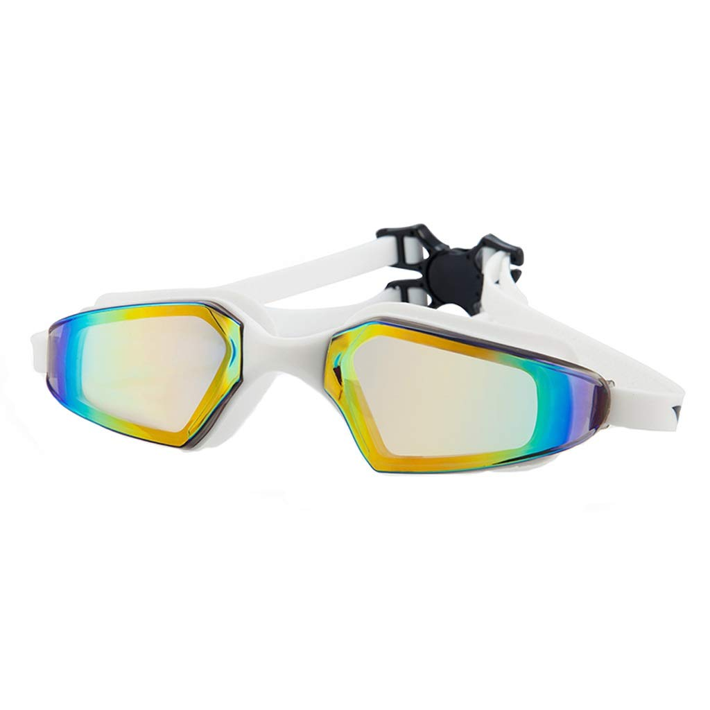 White WZHGLASSES Male Female Adult Swimming Glasses Waterproof Antifog HD Swimming Goggles Vacation Swimming Beach Surfing Multicolor